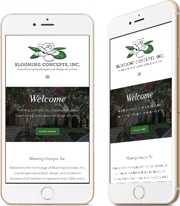 Website Design for Blooming Concepts on Mobile Device