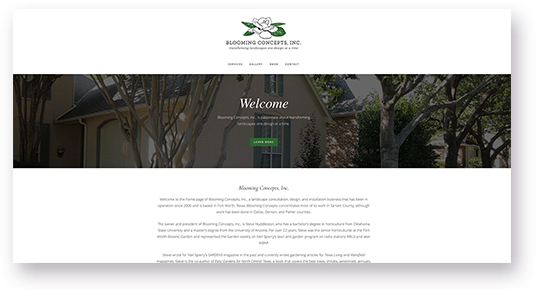 Website Design for Blooming Concepts homepage