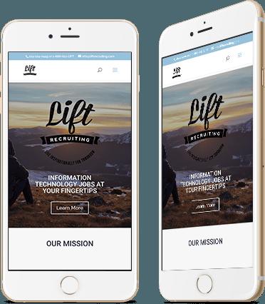 Lift Website Design on Mobile Device