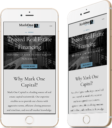 Website Design for MarkOne Capital on Mobile Phone