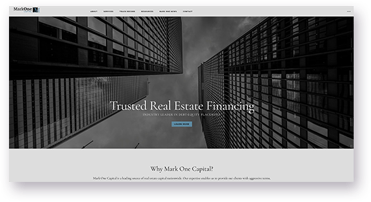 Website Design for MarkOne Capital Homepage