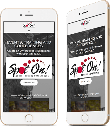 Website Design for Spot On on Mobile Device screenshot