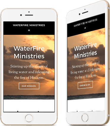 Website Design for Waterfire Ministries on mobile device
