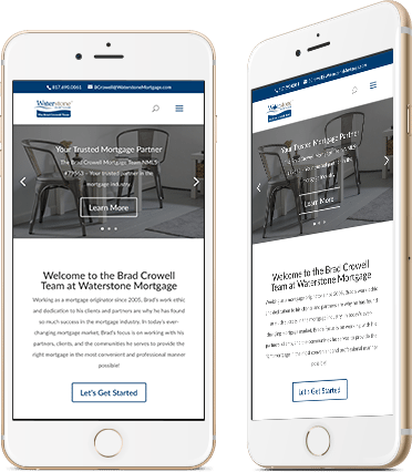 Website Design for Waterstone Screenshot on Mobile Device