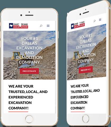 East Texas Excavation mobile Website Design