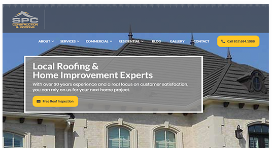 SPC Construction and Roofing Website screenshot