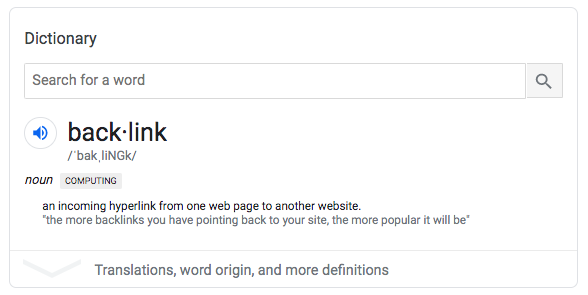 Screenshot of the definition of a backlink from Google