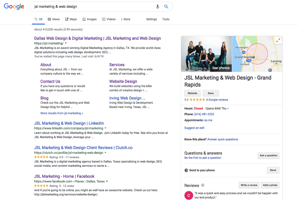 JSL Marketing Google My Business Listing Screenshot