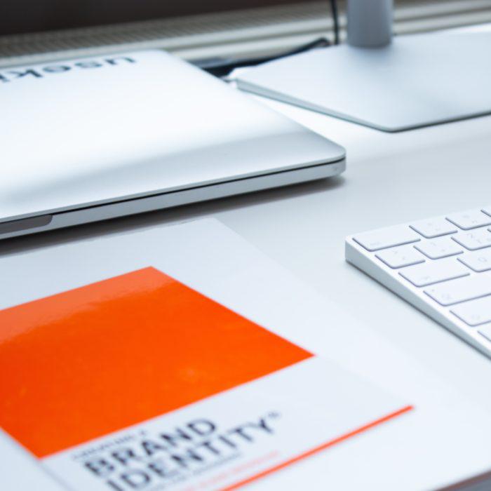 Brang Identity Guide on white desk