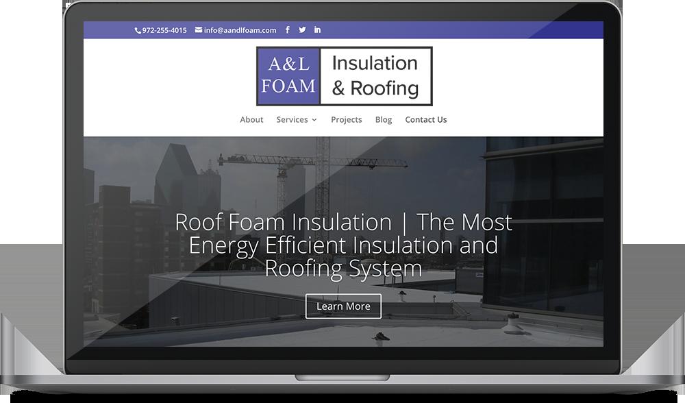 A & L Foam's website on a desktop