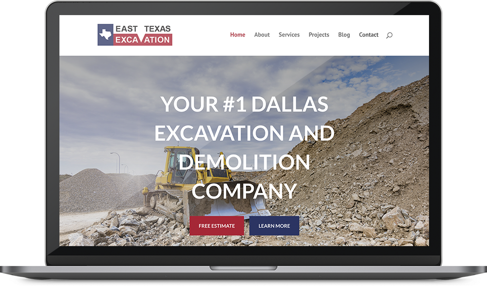 East Texas Excavation web design mockup