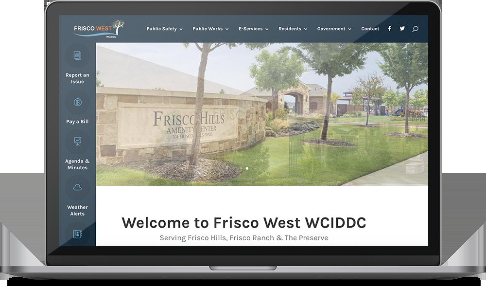 Frisco West Website Design Project on a laptop
