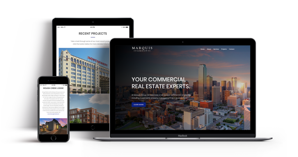 Marquis Group Web Design mockup on different devices