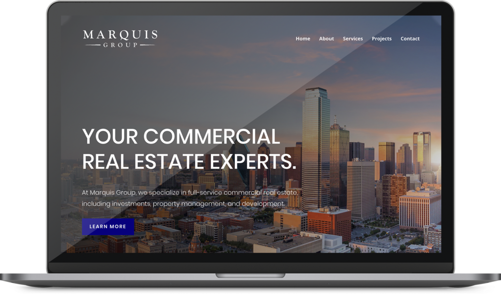 Marquis Asset Management Web design mockup on a macbook