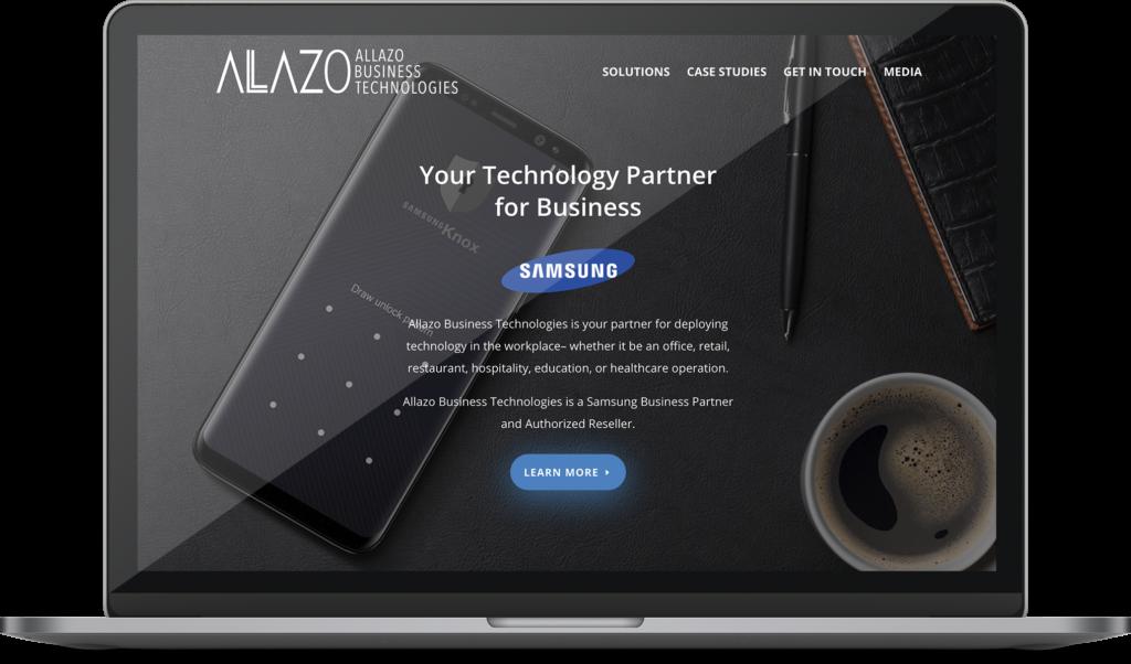 Allazo biztech web design project on a desktop