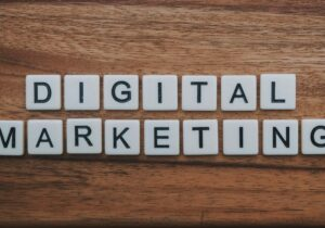 Digital Marketing on a wood table