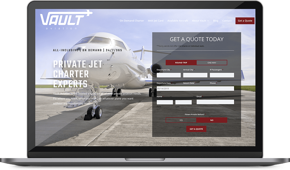 Vault Aviation web design project