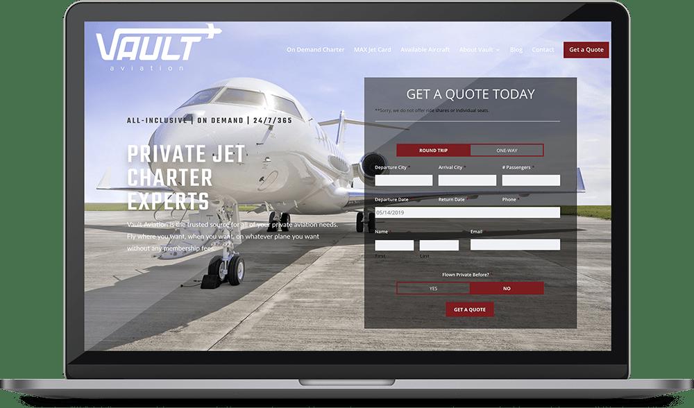 Vault Aviation web design project