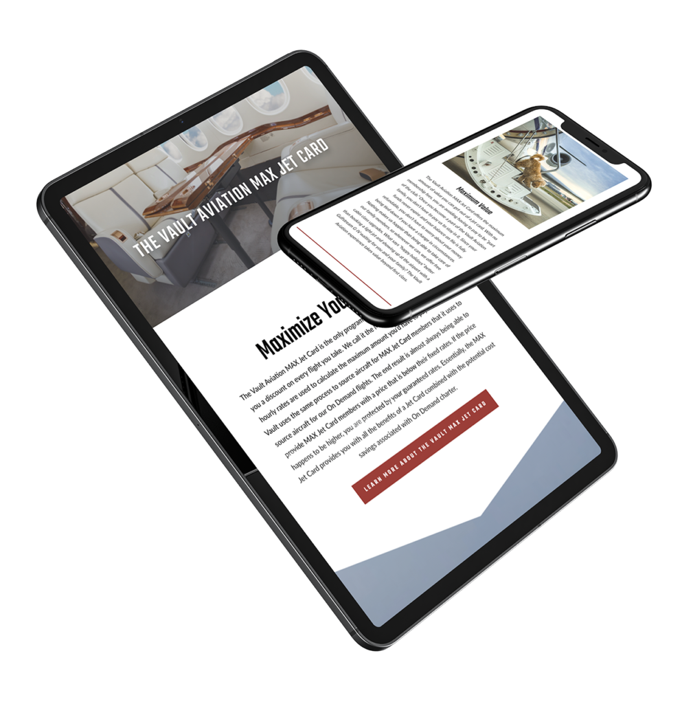 Vault Aviation web design project on a tablet and phone