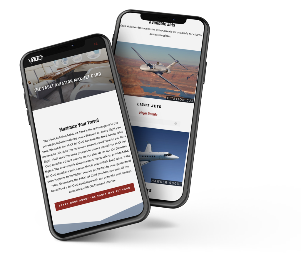Vault Aviation mobile friendly web design mockup