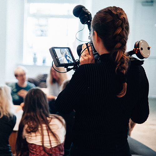 Woman recording a video for digital marketing