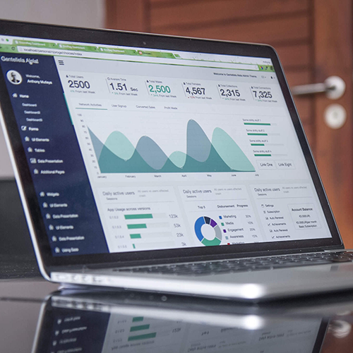 Laptop showing google analytics dashboard