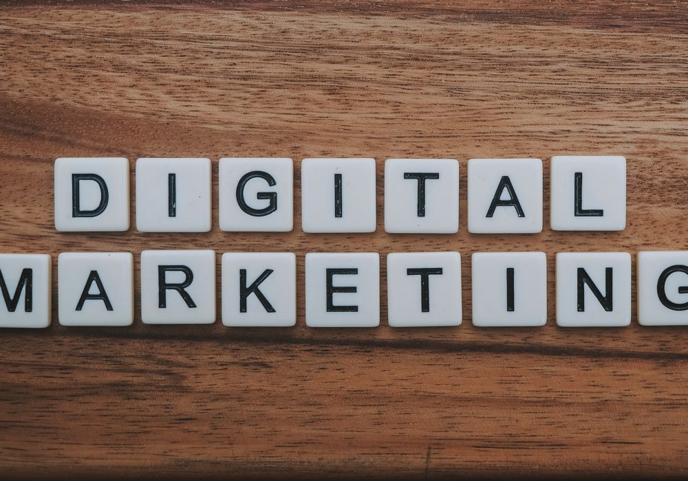Digital Marketing spelled out on a wood table