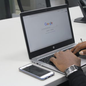 Google voice search on a desktop computer