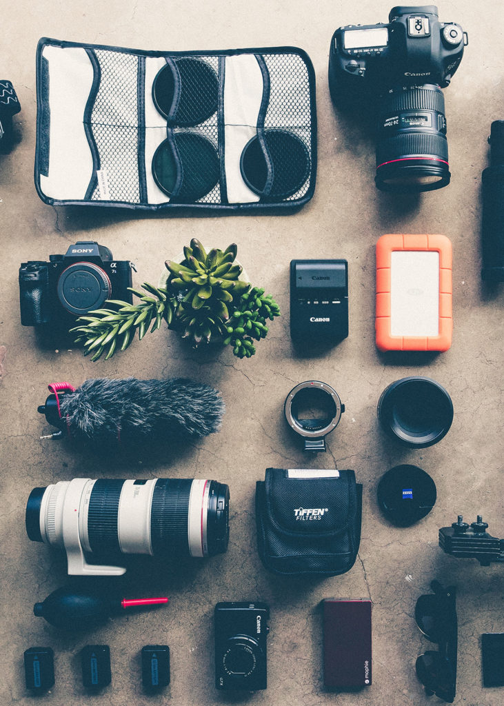 Flat lay of camera equipment