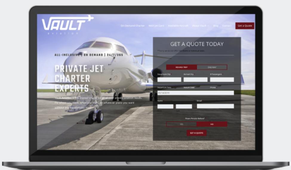 Vault Aviation Website Design Screenshot