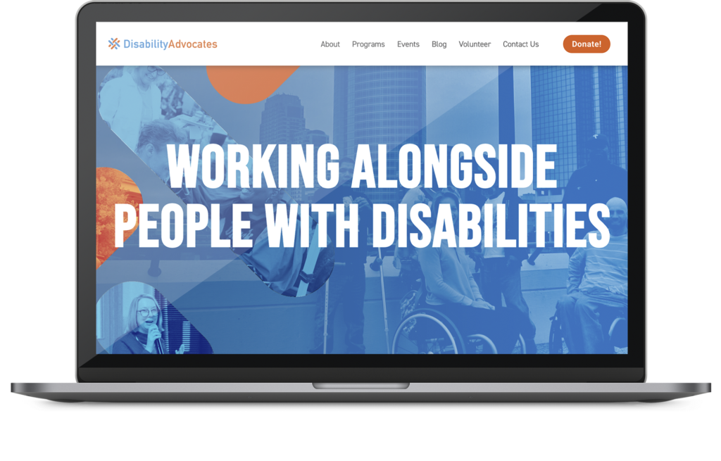 Disability Advocates web design project on a macbook