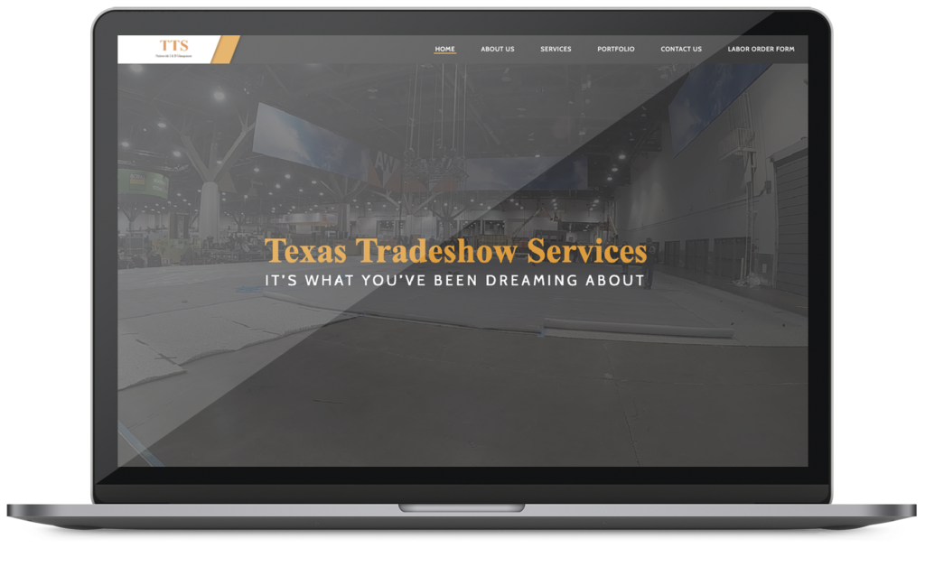 Texas Tradeshow Services web design mockup on a macbook