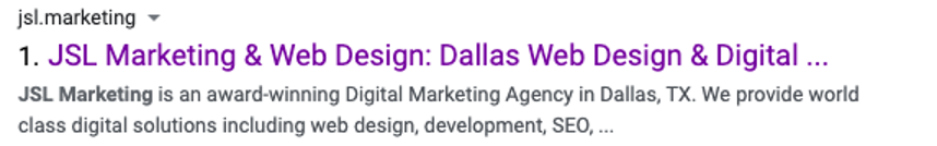 JSL Marketing title tag with keywords