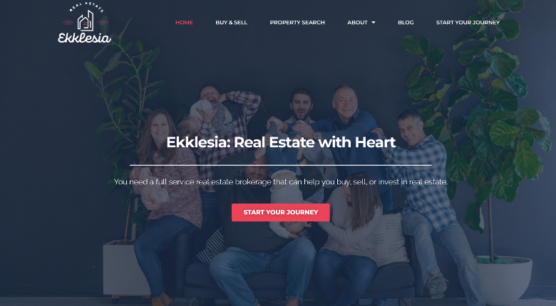 Real estate web design homepage mockup