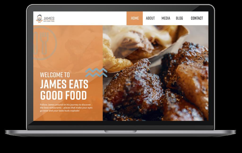James Eats Good Food MacBook Design Mockup