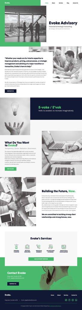 Evoke web design homepage