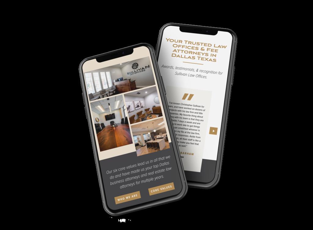 Sullivan Law Offices Double iPhone web design Mockup