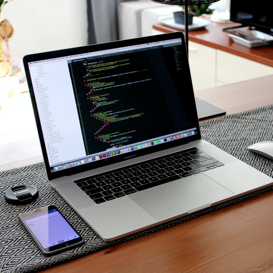 website development on a macbook computer