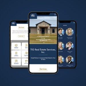 TIG Real Estate website design project on a phone