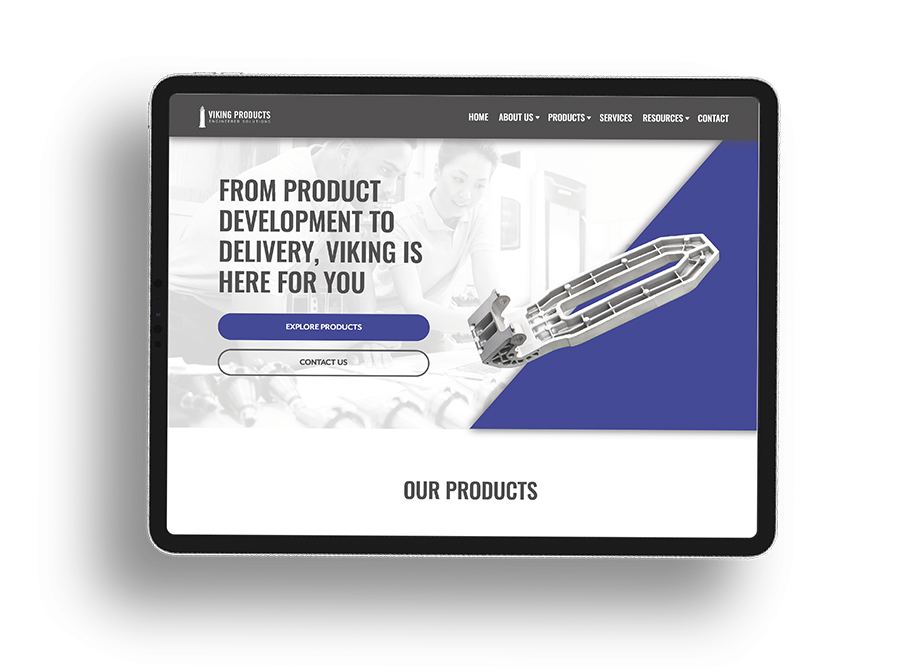 Viking products web design project on a tablet